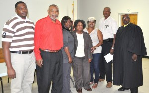 New White Hall Mayor and Council While they don't take office  Monday, Nov. 7, the new White Hall Mayor and Council took the oath of office from Lowndes County Probate Judge John Hulett, Thursday night. Pictured from left are Seat 5 Council member Delmatre' Bethel, Seat 1 Council member Ceodis Baker,  Seat 2 Council member Joyce Barnfield, new Mayor Elizabeth Davis, Seat 3 Council member Ruby Rudolph,  Seat 4 Council member Eli Seaborn and Hulett.  The council will hold an organizational meeting Monday, Nov. 7 at 7 p.m. Fred Guarino/Lowndes Signal.
