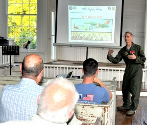 Col. Randy Efferson, commander, 187th Fighter Wing, updated Lowndes County residents on the F-35 fighter jet and efforts to bring it to Montgomery at the Lowndesboro CME Church on Tuesday, Aug. 22. He made the presentation at the request of Lowndesboro Mayor Rick Pate.. Efferson said the F-16 fighter jets at Dannelly Field are timing out. But he said the F-35 would insure the Air National Guard 1,400 jobs in the local area for the next 50 plus years. He said Montgomery is competing to get the plane with five bases including Boise, Idaho, Wisconsin, Michigan, Jacksonville, Fla. and that a decision will be made in about three weeks. While Efferson said the F-35 is louder that the F-16 but that he did not think it would be noticeably louder for Lowndes County residents. Fred Guarino/Lowndes Signal.