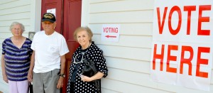 Special U.S. Senate Republican Primary Runoff Vote Tuesday, Sept. 26 was the day of the Special Election for U.S. Senate Republican Primary Runoff. Voting at the Lowndesboro voting site, the historic CME Church, are from left Joyce Haines, her husband, Willard Haines Sr., age 94, and Mary Shuhart..