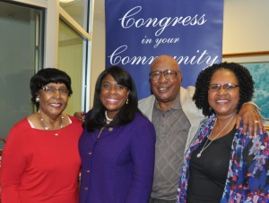 Lowndes is Family When Congresswoman Terri A. Sewell visited Lowndes County for a Congress in your Community Town Hall Meeting, Thursday, Feb. 22 at the Lowndes County Water Authority Building in Hayneville, Sewell, second from left, was joined from left by Lowndes County family members including her Aunt Theresa Douglass, Uncle Tom Gardner, pastor of Beulah Primitive Baptist Church, and her Aunt Negatha Holt. Fred Guarino/The Lowndes Signal.