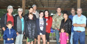 Hurricane Michael evauee campers from Florida gathered at Calico Fort in Fort Deposit on Wednesday, Oct. 10 when other campsites were full. Pictured, not in order, are evaucees Andrew Toole, Bob Paoni, Janice Paoni, Dylan, Janice and Mitchell Toole, helpers, Caitlin and Meagan Edgar, evaucees Levi, Xaiphone and Piper Peacock, Iim Ciocca and Chris Edgar of the Fort Deposit Arts Council.