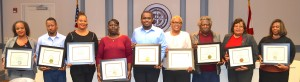 Lowndes Public School Quarterly Award Winners Pictured from left are Lowndes County Public Schools Quarter Award Winners announced at the Thursday, Dec. 13 meeting of the Lowndes County Board of Education:Parent or Guardian of the Quarter,Venitra Morgan of the Calhoun School; Volunteer of the Quarter,Rodney Rudolphof Central High; Administrator of the Quarter,Kimberly Washington, Central Office, director of Human Resources, Head Start Program Employee of the Quarter,Verna Perryman, a teacher at Jackson-Steele Head Start Center; Student of the Quarter, Yamiri Mants of Central High;Principal of the Quarter,Dr. Tara Green of Central Elementary; Transportation Department Employee of the Quarter,Johnny Nelson,bus driver;  Support Personnel of the Quarter,Texanna Davis, Central Office, accounts payable clerk; and Teacher of the Quarter,Kimberly Simms of the Calhoun School. Submitted.